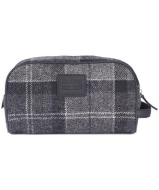 Barbour Shadow Tartan Wash Bag - Black / Grey Tartan