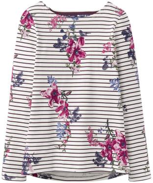 Women's Joules Harbour Print Jersey Top - Harvest Floral Plum Stripe