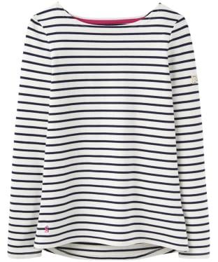 Women's Joules Harbour Jersey Top - Cream Navy Stripe
