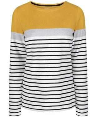 Women's Joules Harbour Block Jersey Top - Cream Ochre Block Stripe