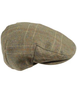 Men's Barbour Wool Crieff Flat Cap - Olive / Mixed Herringbone