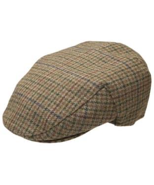 Men's Barbour Wool Crieff Flat Cap - Dark Olive Check