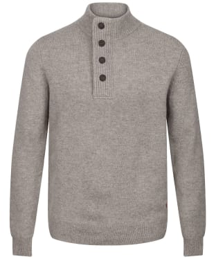 Men's Barbour Patch Half Button Lambswool Sweater - Stone