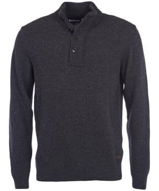 Men's Barbour Patch Half Button Lambswool Sweater - Charcoal