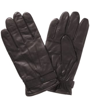 Men's Barbour Burnished Leather Insulated Gloves - Dark Brown