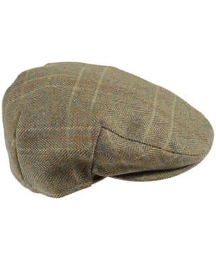 Men's Barbour Wool Crieff Flat Cap - Olive / Mixed Herringbone