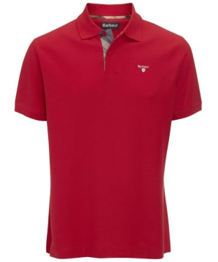 Men's Barbour Tartan Pique Polo Shirt - Red