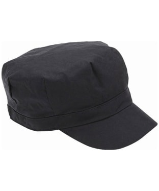Women's Barbour Waxed Cotton Baker Boy Hat - Black