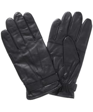 Men's Barbour Burnished Leather Insulated Gloves - Black