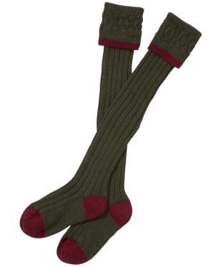 Men's Barbour Contrast Gun Merino Wool Stockings - Olive / Cranberry
