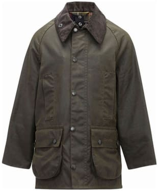 Boy's Barbour Classic Beaufort Waxed Jacket, 2-9yrs - Olive