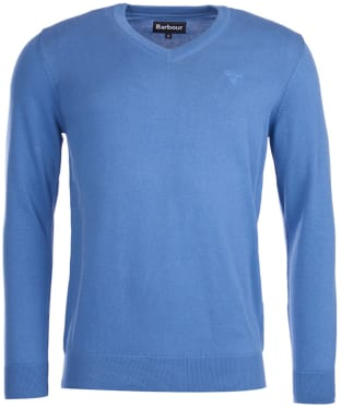 Men's Barbour Pima Cotton V-Neck Sweater - Cobalt Marl