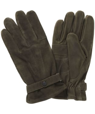 Men's Barbour Leather Thinsulate Gloves - Olive