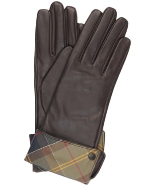 Women's Barbour Lady Jane Leather Gloves - Chocolate / Muted Tartan