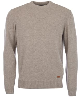 Men's Barbour Patch Crew Neck Lambswool Sweater - Stone