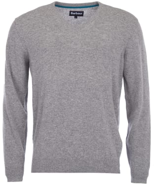 Men's Barbour Essential Lambswool V Neck Sweater - Grey Marl