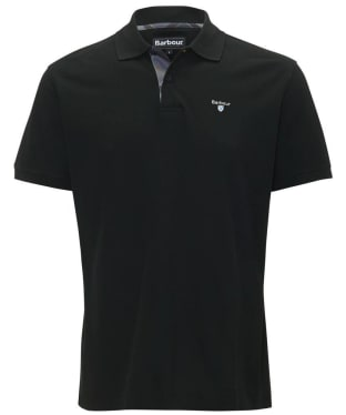 Men's Barbour Tartan Pique Polo Shirt - Black