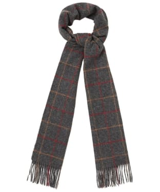 Barbour Tattersall Lambswool Scarf - Charcoal / Red