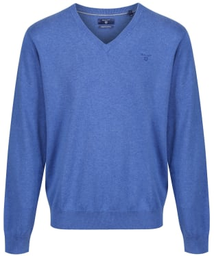 Men's GANT Lightweight Cotton V-Neck - Blue Melange