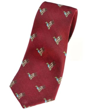 Men's Alan Paine Ripon Silk Tie - Duck Design - Bordeaux