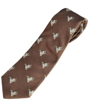 Men's Alan Paine Ripon Silk Tie - Duck Design - Brown