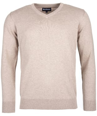 Men's Barbour Pima Cotton V-Neck Sweater - Sand Marl