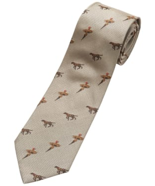 Men's Alan Paine Ripon Silk Tie - Bird & Dog Design - Gold