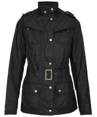 Women's Barbour International Ignition Waxed Jacket - Black