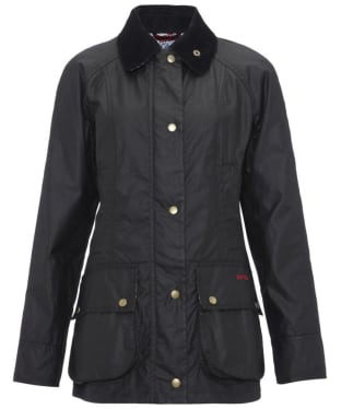 Women's Barbour Chamber Beadnell Waxed Jacket - Black