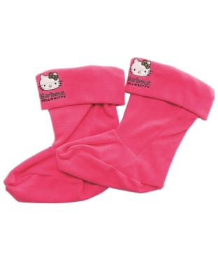 Girl's Barbour Hello Kitty Fleece Wellington Socks - Bright Pink