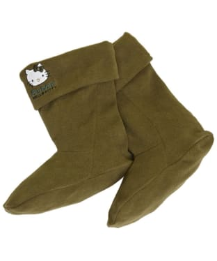 Girl's Barbour Hello Kitty Fleece Wellington Socks - Olive