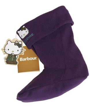 Girl's Barbour Hello Kitty Fleece Wellington Socks - Blackcurrant