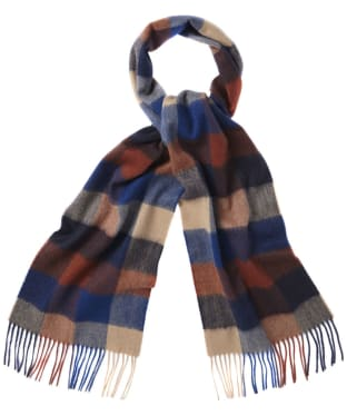 Barbour Large Tattersall Lambswool Scarf - Navy / Camel