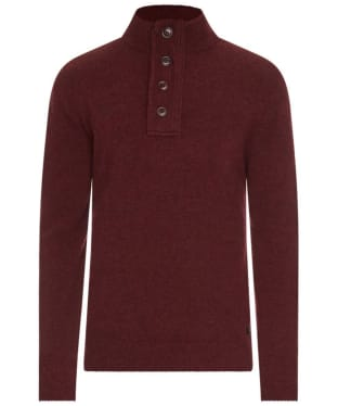 Men's Barbour Patch Half Button Lambswool Sweater - Merlot