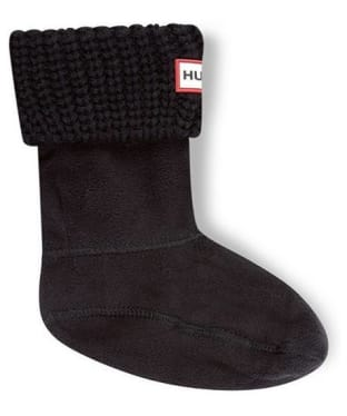 Hunter Kids Half-Cardigan Stitch Boot Socks - Black