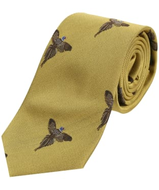 Men's Soprano Flying Pheasant Print Tie - Gold