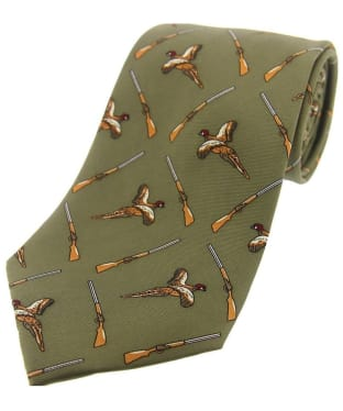 Men's Soprano Pheasant and Shotgon Print Tie - Country Green
