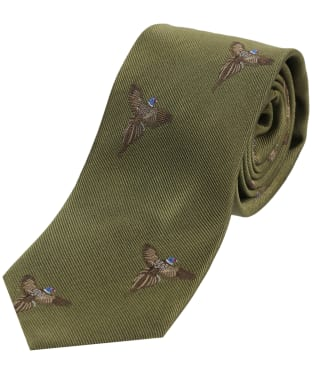 Men's Soprano Flying Pheasant Print Tie - Country Green