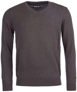 Men's Barbour Pima Cotton V-Neck Sweater - Charcoal