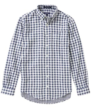 Men's GANT Double Check Indigo Long Sleeved Shirt - Indigo Blue