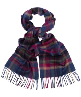 Women's Barbour Vintage Winter Plaid Scarf - Navy