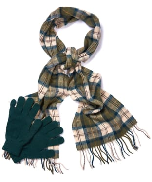 Men's Barbour Scarf and Glove Gift Box - Ancient