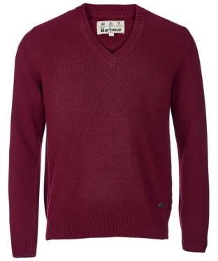 Men's Barbour Nelson Essential V Neck Jumper - Merlot