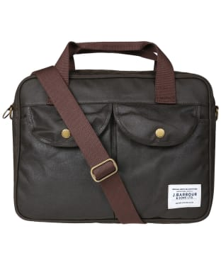 Barbour Longthorpe Wax Laptop Bag - Olive