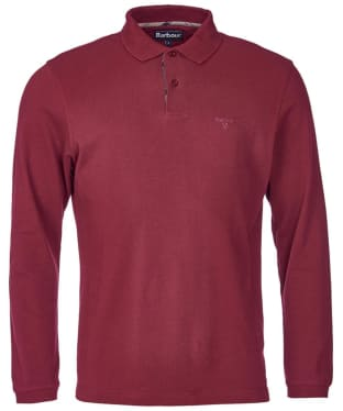 Men's Barbour Long Sleeved Sports Polo Shirt - Ruby