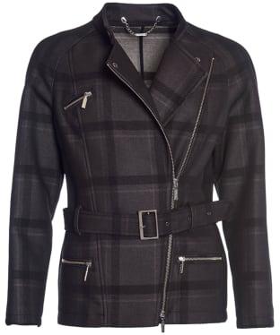 Women's Barbour International Katana Check Wool Jacket - Black