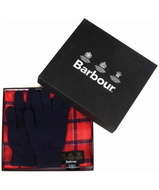 Men's Barbour Scarf and Glove Gift Box - Cardinal