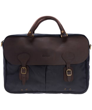 Barbour Wax and Leather Briefcase - Navy