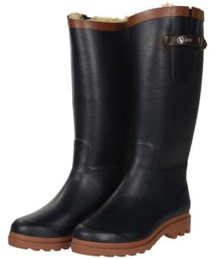 Women's Aigle Aiglentine Faux Fur Wellington Boots - Marine / Amber