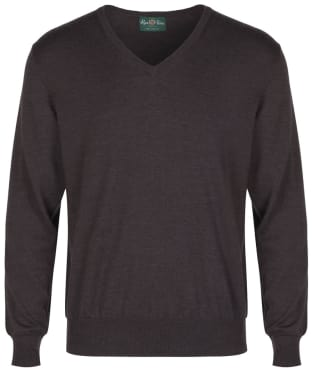 Men's Alan Paine Millbreck V-Neck Sweater - Dark Brown